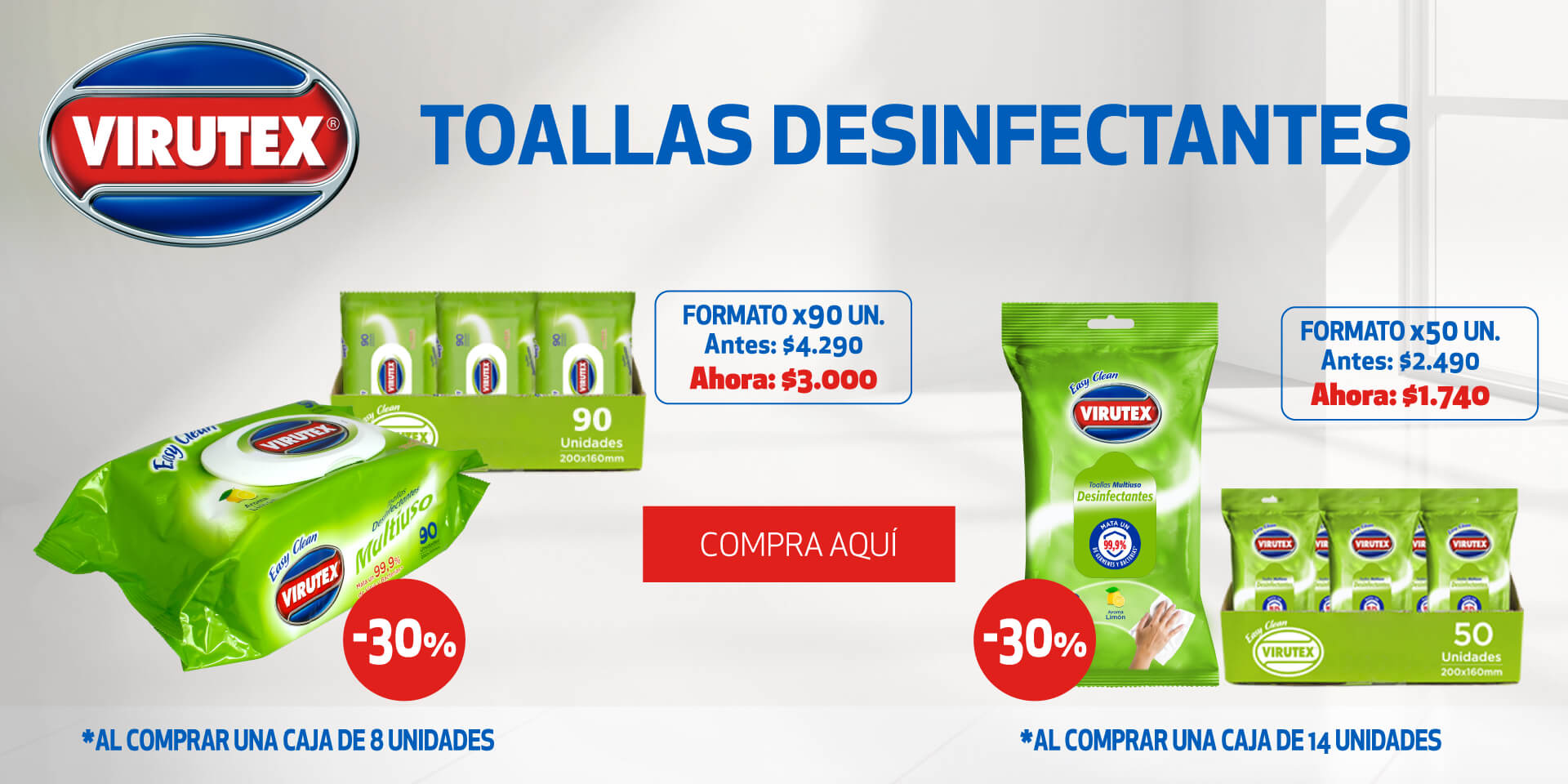Toallas desinfectantes virutex